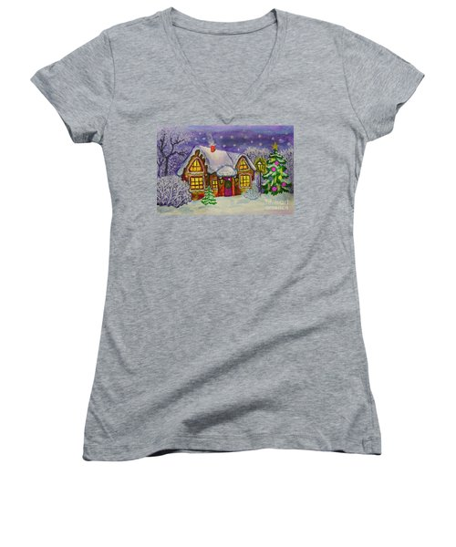 Christmas House, Painting Women's V-Neck (Athletic Fit)