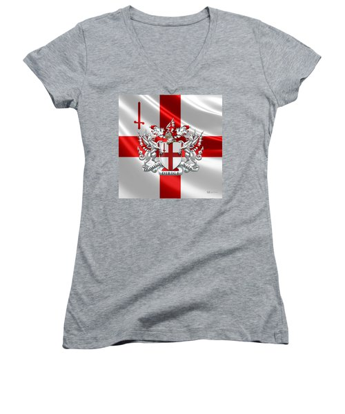 City Of London - Coat Of Arms Over Flag  Women's V-Neck T-Shirt