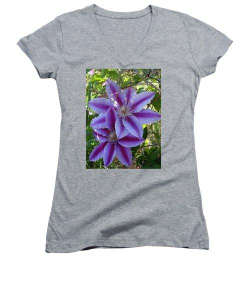 Clematis Petals Women's V-Neck T-Shirt (Junior Cut) by Rebecca Overton