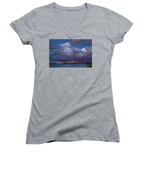 Women's V-Neck T-Shirt (Junior Cut) featuring the photograph Cleveland Skyline  by Emmanuel Panagiotakis