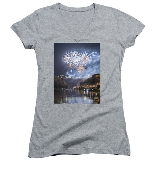 Clifton Suspension Bridge Fireworks Women's V-Neck T-Shirt (Junior Cut) by Colin Rayner