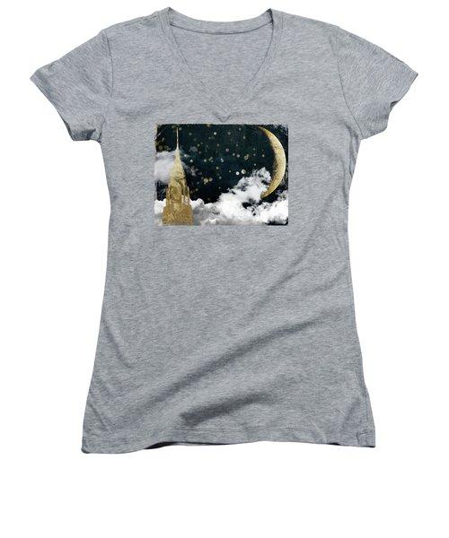 Cloud Cities New York Women's V-Neck T-Shirt