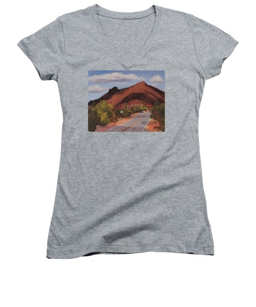 Cloud Shadows On Black Mountain Women's V-Neck (Athletic Fit)