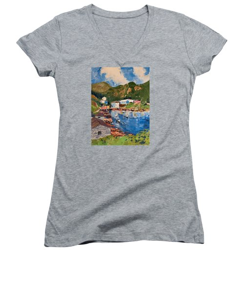 Coastal Village, Newfoundland Women's V-Neck T-Shirt (Junior Cut)