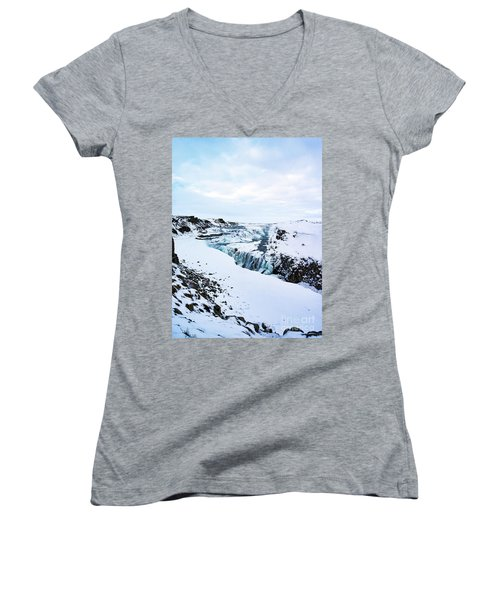 Cold Winter Day At Gullfoss, Iceland Women's V-Neck (Athletic Fit)