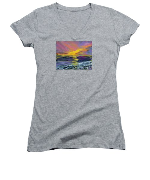 Collection Art For Health And Life. Painting 8 Women's V-Neck T-Shirt (Junior Cut) by Oksana Semenchenko