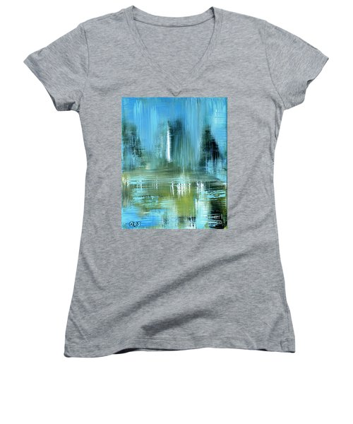 Original For Sale. Collection Art For Health And Life. Painting 9 Women's V-Neck (Athletic Fit)