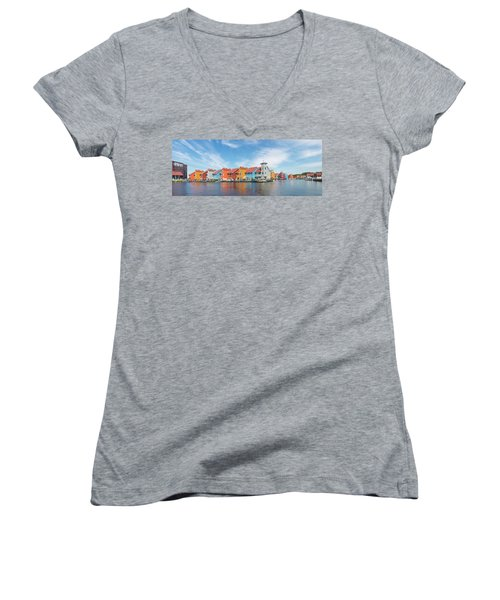 Colorful Buildings Women's V-Neck T-Shirt (Junior Cut) by Hans Engbers
