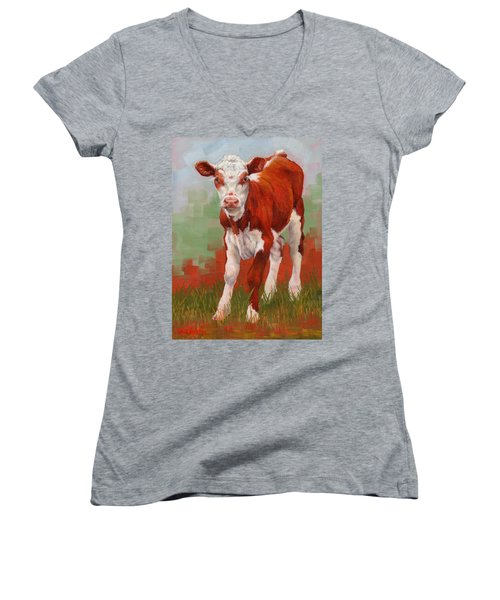 Women's V-Neck T-Shirt (Junior Cut) featuring the painting Colorful Calf by Margaret Stockdale
