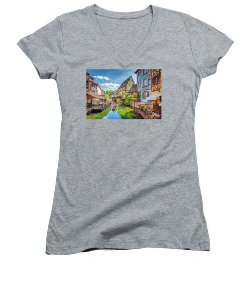 Colorful Colmar Women's V-Neck T-Shirt (Junior Cut) by JR Photography