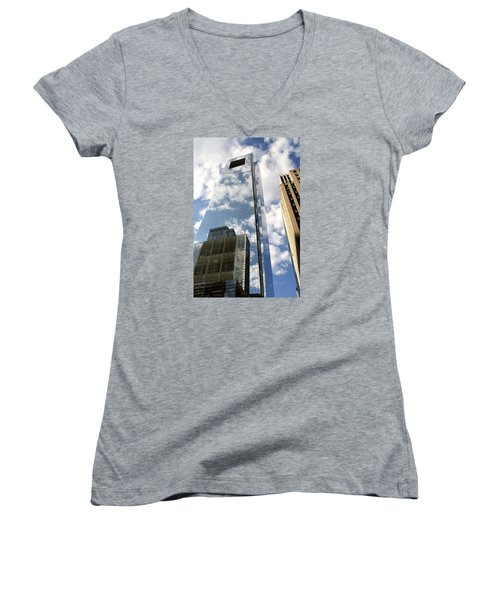 Women's V-Neck T-Shirt (Junior Cut) featuring the photograph Comcast Center by Christopher Woods
