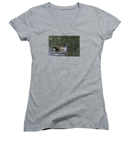 Women's V-Neck T-Shirt (Junior Cut) featuring the photograph Common Moorhen by Jivko Nakev