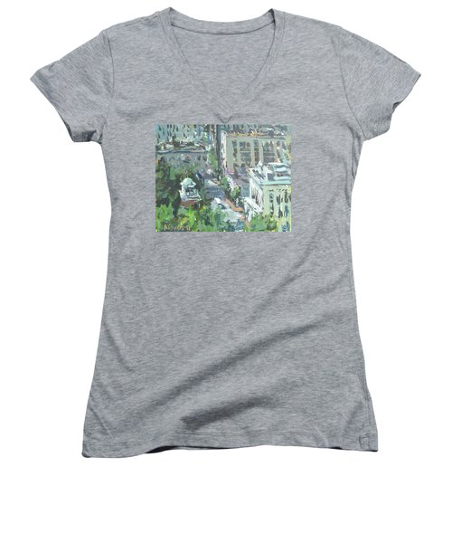 Contemporary Richmond Virginia Cityscape Painting Women's V-Neck T-Shirt (Junior Cut) by Robert Joyner