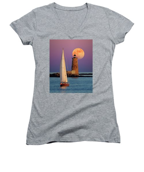 Women's V-Neck T-Shirt (Junior Cut) featuring the photograph Convergence by Larry Landolfi