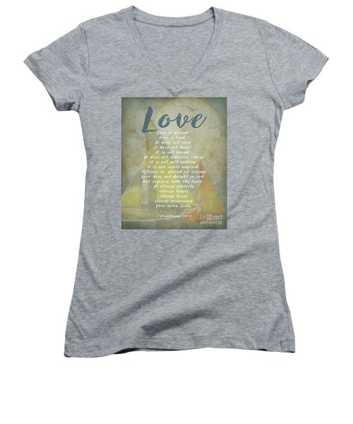 1 Corinthians 13 4-8 Love Is Patient Love Is Kind Wedding Verses. Great Gift For Men Or Home Decor. Women's V-Neck T-Shirt