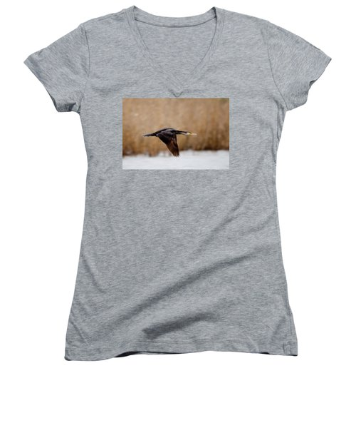 Cormorant In Flight Women's V-Neck