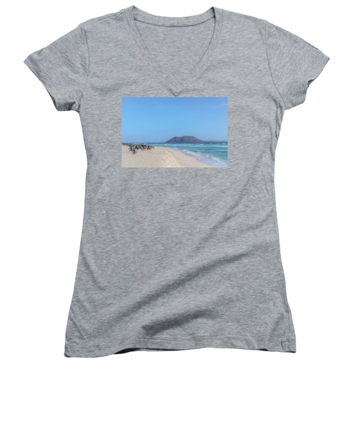 Corralejo - Fuerteventura Women's V-Neck T-Shirt (Junior Cut) by Joana Kruse