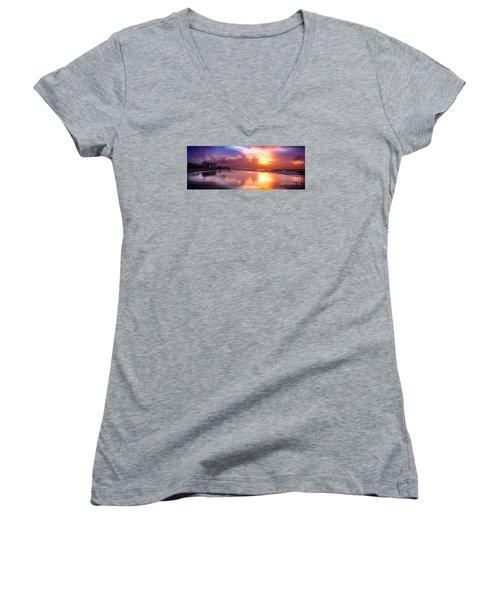 Crescent Beach September Morning Women's V-Neck T-Shirt (Junior Cut) by David Smith