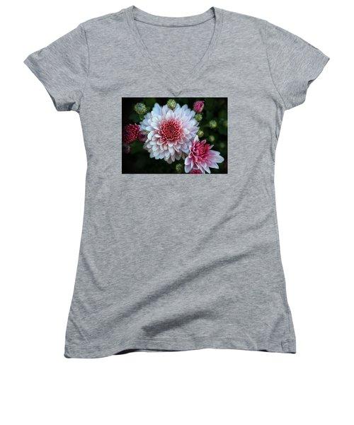 Dahlia Burst Women's V-Neck T-Shirt (Junior Cut) by Ronda Ryan
