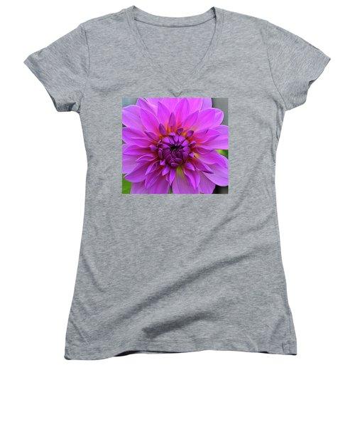 Dahlia Women's V-Neck T-Shirt (Junior Cut) by Ronda Ryan