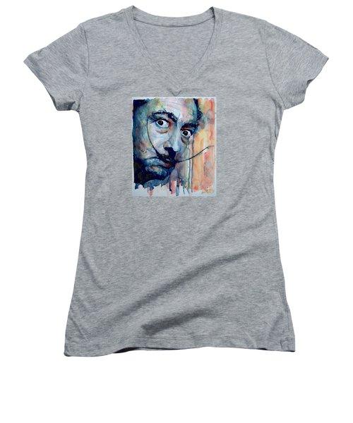 Dali Women's V-Neck T-Shirt (Junior Cut) by Paul Lovering