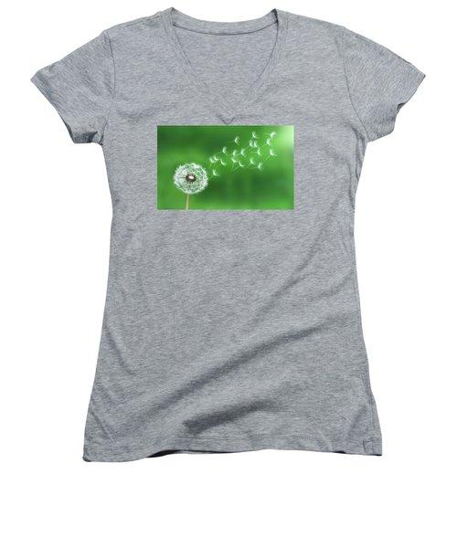 Dandelion Seeds Women's V-Neck T-Shirt