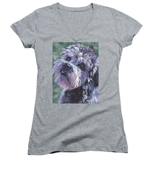 Women's V-Neck T-Shirt (Junior Cut) featuring the painting Dandie Dinmont Terrier by Lee Ann Shepard