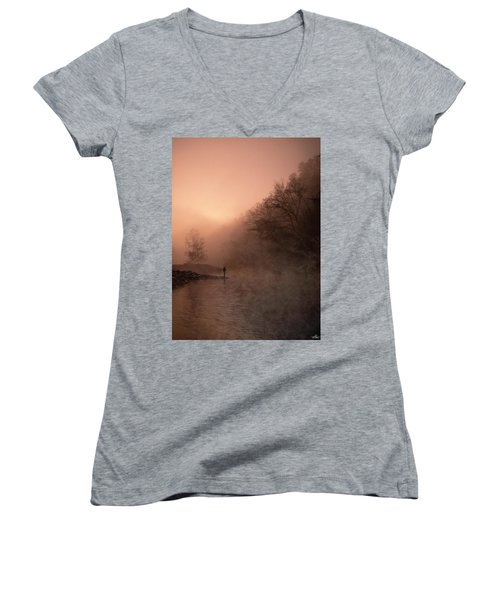 Dawn On The Lower Mountain Fork River Women's V-Neck (Athletic Fit)