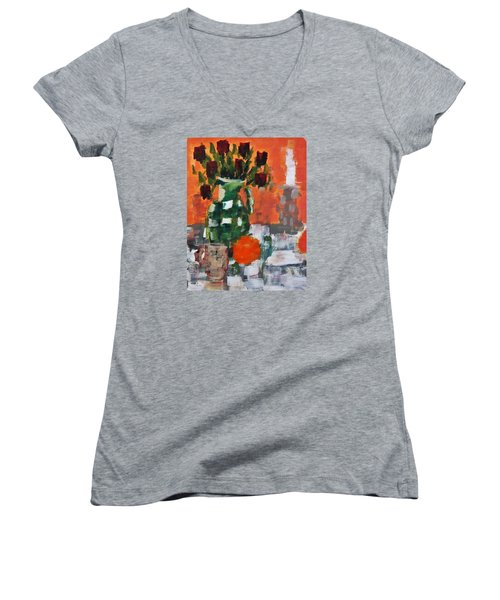 Dead Roses Women's V-Neck T-Shirt (Junior Cut) by Tamara Savchenko