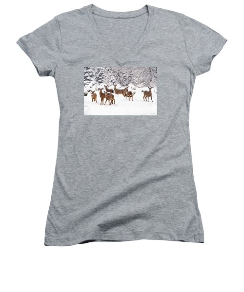 Women's V-Neck featuring the photograph Deer In The Snow by Angel Cher