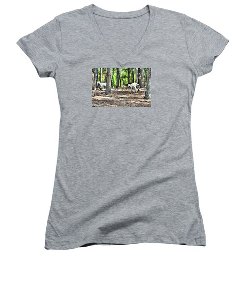 Deer In The Woods Women's V-Neck T-Shirt (Junior Cut) by James Potts