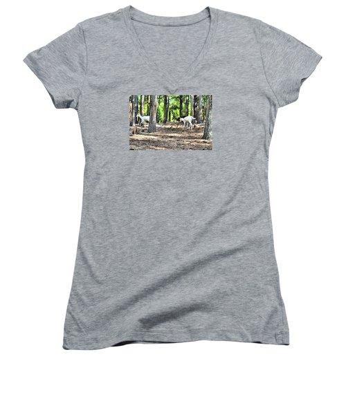 Deer In The Woods Women's V-Neck T-Shirt