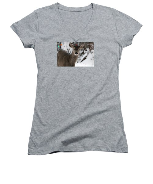 Deer Women's V-Neck T-Shirt (Junior Cut) by Irina Hays