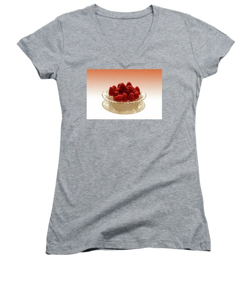 Delicious Raspberries Women's V-Neck T-Shirt (Junior Cut)