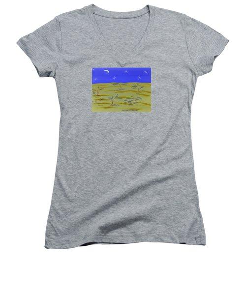 Desert Night Women's V-Neck T-Shirt (Junior Cut) by Dr Loifer Vladimir