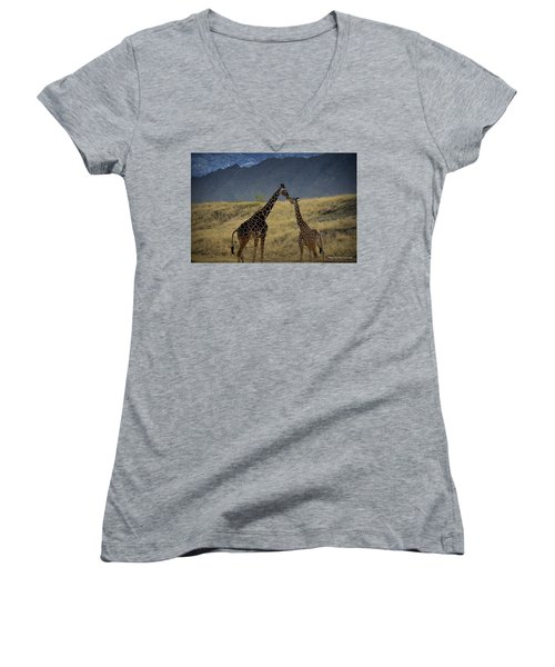 Desert Palm Giraffe 001 Women's V-Neck T-Shirt (Junior Cut) by Guy Hoffman