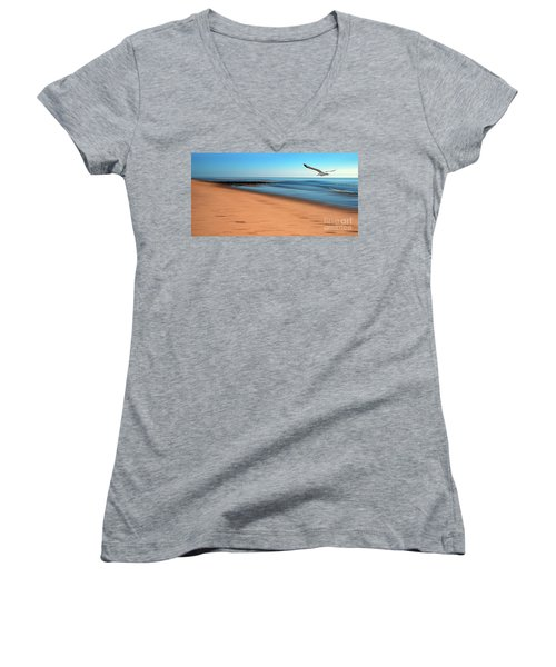 Women's V-Neck T-Shirt (Junior Cut) featuring the photograph Desire Light  by Hannes Cmarits