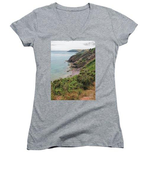 Devon Coastal View Women's V-Neck T-Shirt (Junior Cut) by Patricia Hofmeester