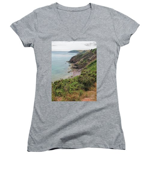 Devon Coastal View Women's V-Neck (Athletic Fit)