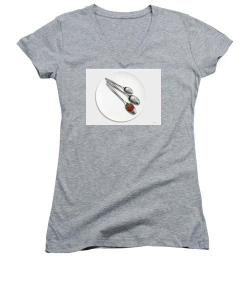 Dish, Spoons And Strawberry Women's V-Neck T-Shirt (Junior Cut) by Joe Bonita