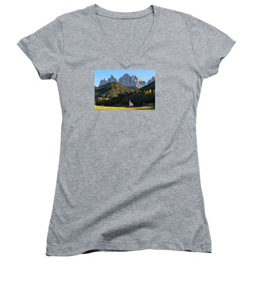 Dolomites Mountain Church Women's V-Neck T-Shirt