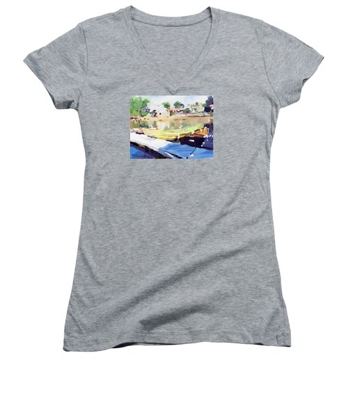 Dories At Beacon Marine Basin Women's V-Neck T-Shirt (Junior Cut) by Melissa Abbott