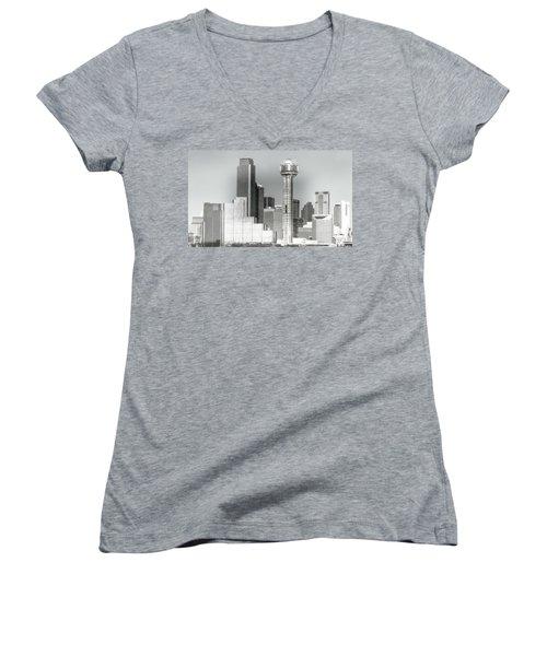 Women's V-Neck T-Shirt (Junior Cut) featuring the photograph Downtown Dallas by Joan Bertucci