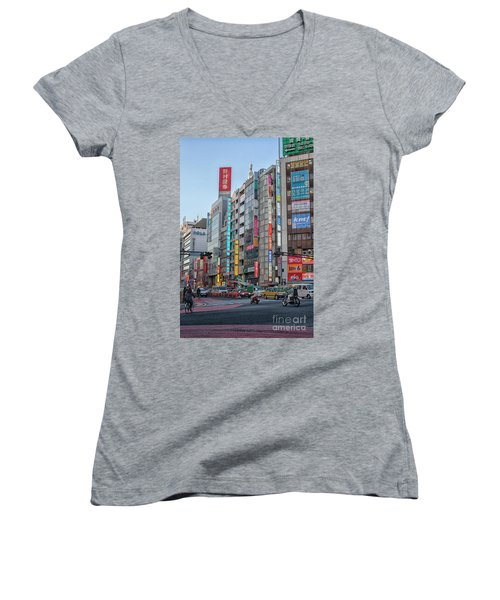 Downtown Tokyo Women's V-Neck T-Shirt (Junior Cut) by Patricia Hofmeester