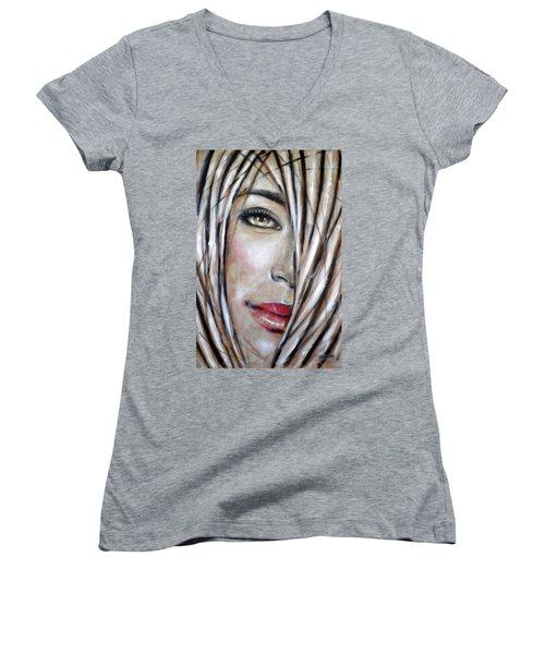 Dream In Amber 120809 Women's V-Neck T-Shirt (Junior Cut) by Selena Boron