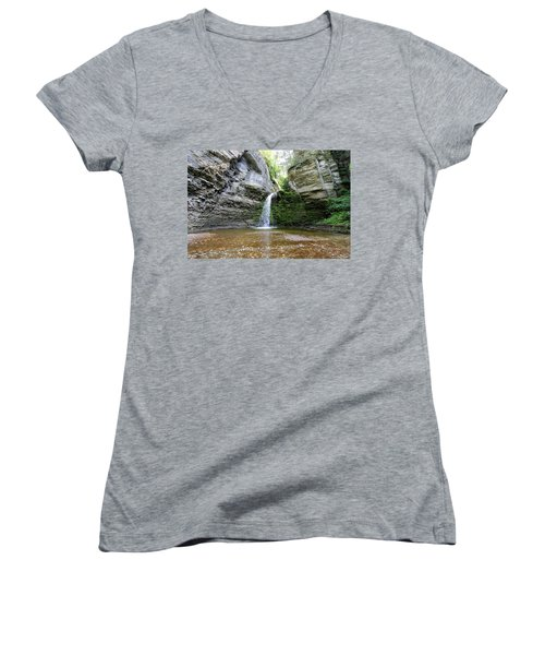 Eagle Cliff Falls In Ny Women's V-Neck (Athletic Fit)