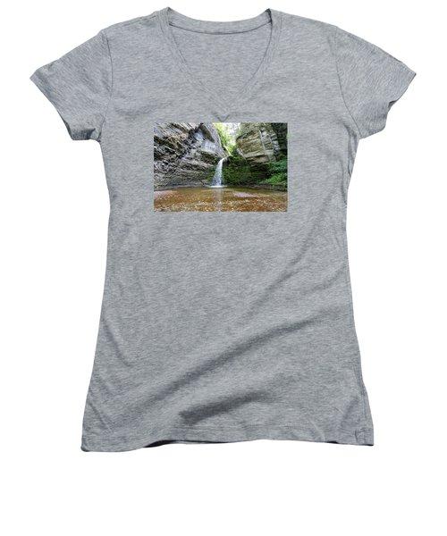 Eagle Cliff Falls In Ny Women's V-Neck T-Shirt