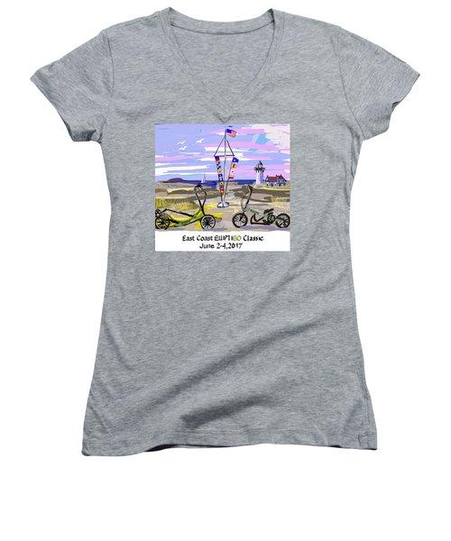 East Coast Elliptigo Classic Women's V-Neck T-Shirt