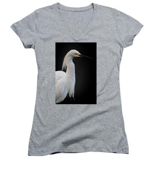 Egret Women's V-Neck T-Shirt (Junior Cut) by Cyndy Doty