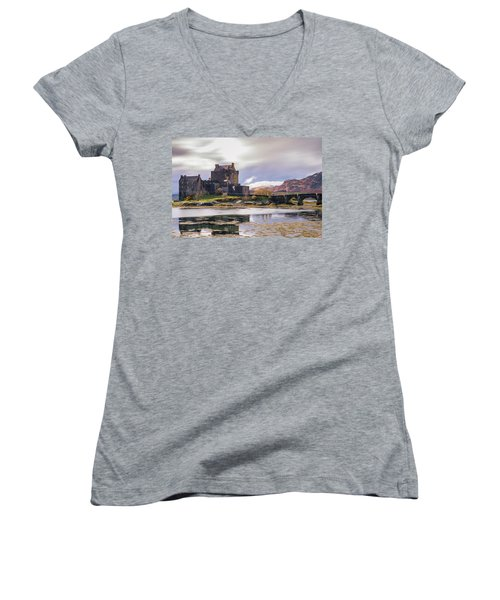 Eilean Donan Castle, Dornie, Kyle Of Lochalsh, Isle Of Skye, Scotland, Uk Women's V-Neck